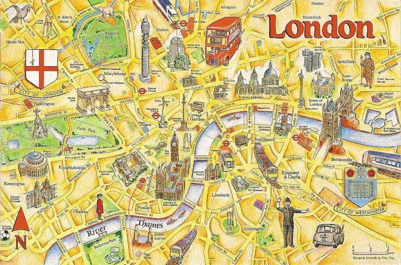 خريطة لندن السياحية أهم المعالم السياحية في لندن والمسافات بين